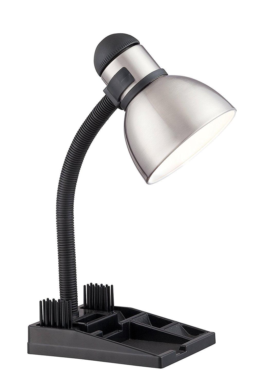 57 056 Gooseneck Desk Organizer Lamp with 13-watt GU24 2700K Mini Spiral, Steel Black, Ship from America by