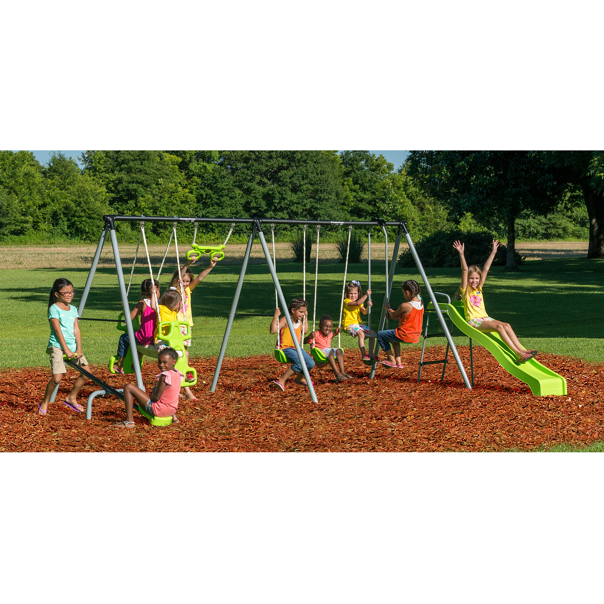 Gentil Flexible Flyer World Of Fun Metal Swing Set