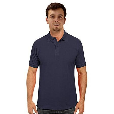 Peach Couture Mens Short Sleeve Classic Pique Polo Shirt (Small, Navy)