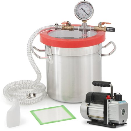 Degassing Tool (Gizmo Supply Vacuum Chamber 2 Gallon + 3 CFM Single Stage Pump Degassing Silicone Set )