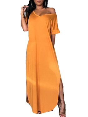 V-neck Cold Shoulder Women Solid Color Split Long Casual Dress