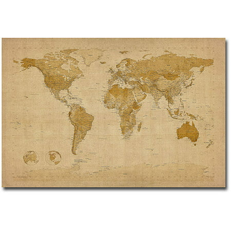 Trademark Art Antique World Map Canvas Art By Michael Tompsett - World map canvas