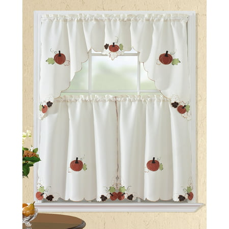 All American Collection New 3pc Fall Holiday Season Design Embroidered Kitchen Curtain Set
