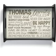 Personalized Family Rules Serving Tray, Cream