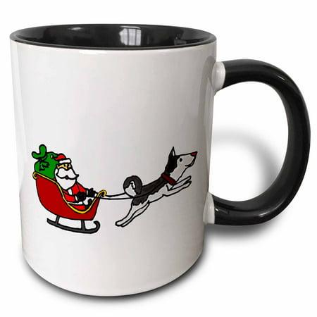 3dRose Funny Santa in Sleigh Pulled by Siberian Husky Dog - Two Tone Black Mug, -