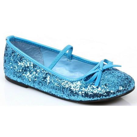 Blue Sequin Girl's Ballet Flats (Mens Ballet Shoes)