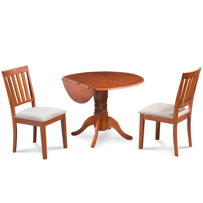 M&D Furniture BUMO3-SBR-C Burlington 3 Piece small kitchen table set-kitchen table and 2 dining chairs in Saddle Brown finish