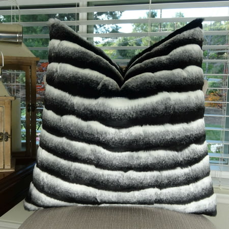 Thomas Collection Black Gray White Chinchilla Faux Fur Throw Pillow - 17432