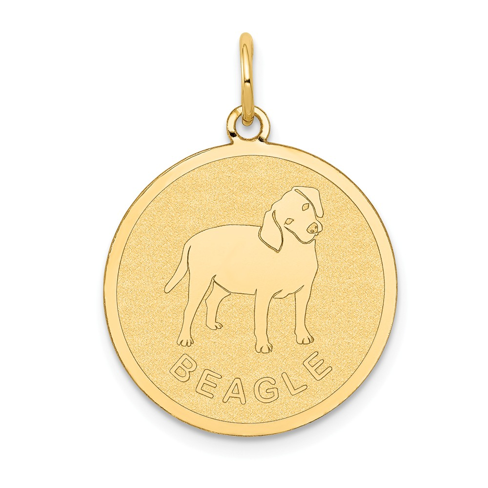 14k Yellow Gold Engravable Beagle Disc Charm Pendant