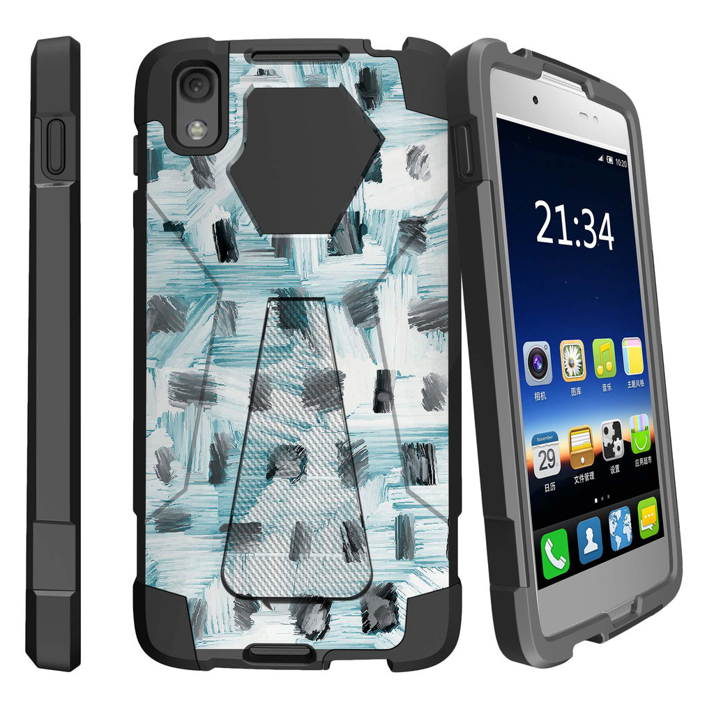 Alcatel One Touch Idol 4 and Nitro 49 Shock Fusion Heavy Duty Dual Layer Kickstand Case -  Black White and Blue