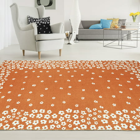 Superior Wildflower 100-Percent Cotton Printed Area Rug - Rust ()