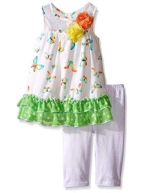 Bonnie Jean Baby Green Butterfly Capri Set 12 months