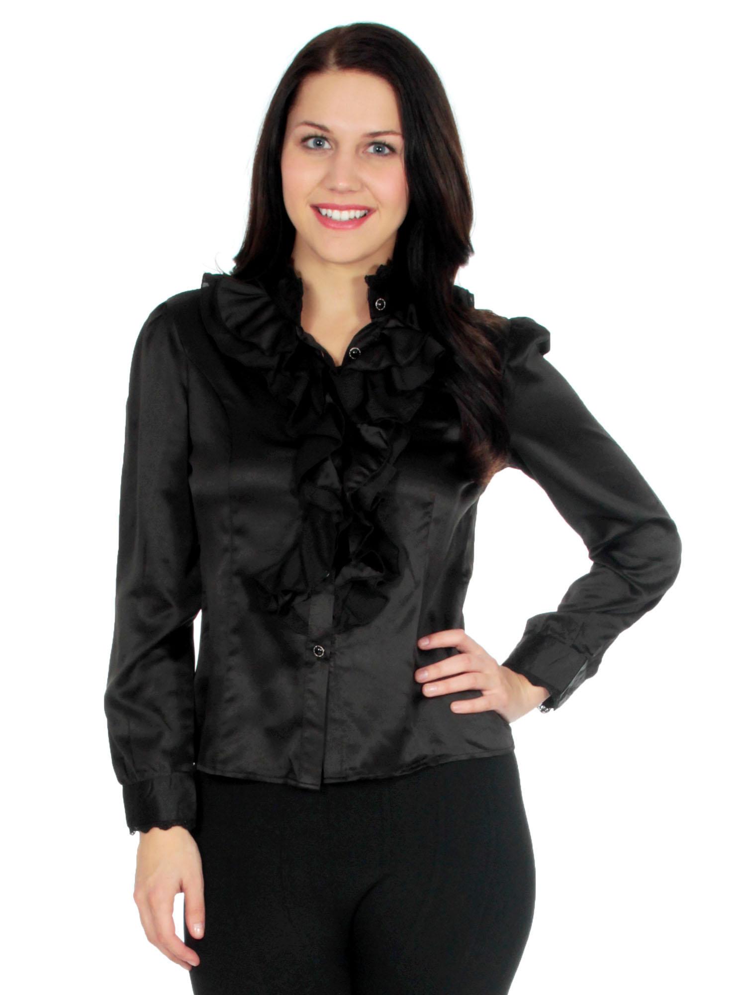 Ruffle Front Collar Shirt - Women's Dress Blouses and Tops
