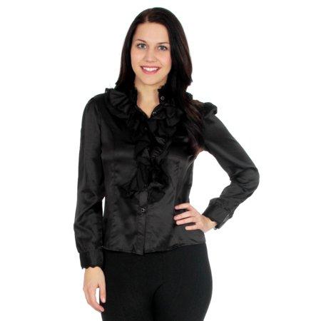 Ruffle Collar Blouse - Vobaga Black Women's Grays Ruffle Front Lace Collar Top Shirt Blouse-l