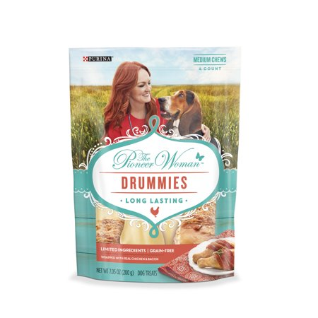 The Pioneer Woman Limited Ingredient, Grain Free Rawhide Dog Treats; Drummies Chicken & Bacon - 7.05 oz. (Dog Round Rawhide)