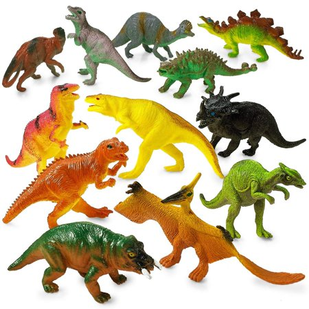 Large Plastic Dinosaur Set - 12 Pack - 5.5 Inches, Assorted Realistic Looking Dinosaur Figures – Toy For Kids, Play, Decoration, Gift, Prize, Party Favor – By Kidsco