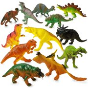 Large Plastic Dinosaur Set - 12 Pack - 5.5 Inches, Assorted Realistic Looking Dinosaur Figures  Toy For Kids, Play, Decoration, Gift, Prize, Party Favor  By Kidsco
