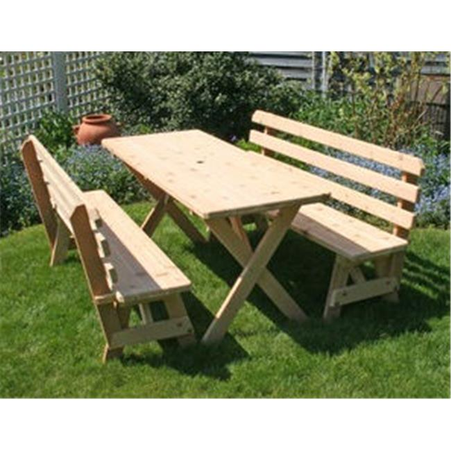 Creekvine Designs WF27WCLTBB6CVD Cedar 27 in. Wide 6 ft. Cross Legged Picnic Table with -2- 6 ft. Backed... by Creekvine Designs