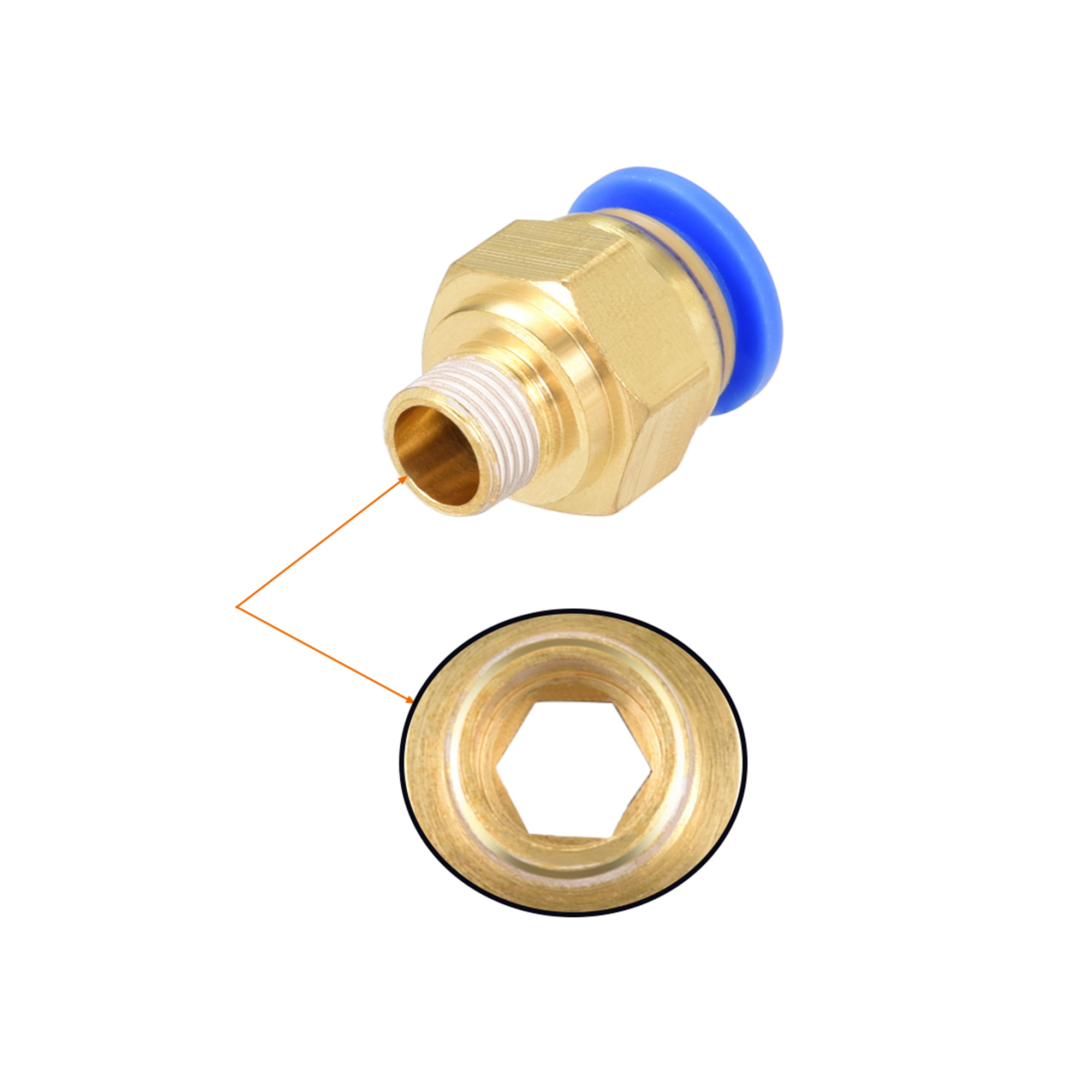 """10 Pcs 1/8"""" G Male Straight Thread 10mm Push In Joint Pneumatic Connector Fitting Quick Fittings - image 1 of 4"""