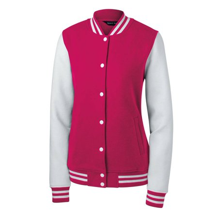 Sport-Tek Ladies Fleece Letterman Jacket + Athletic Wristbands](Design Your Own Letterman Jacket)