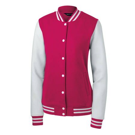 Sport-Tek Ladies Fleece Letterman Jacket + Athletic Wristbands - Letter Man Jacket