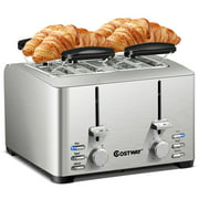 Costway Stainless Steel 4 Slice Toaster Extra-Wide Slot 6 Shade Setting w/ Warming Rack