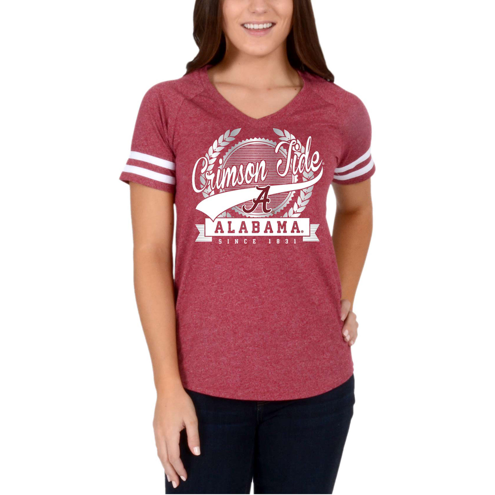 Women's Crimson Alabama Crimson Tide Laurel Script V-Neck T-Shirt