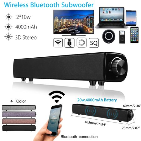 20W HIFI Stereo Home Threat Wireless bluetooth Speaker Elegant Design 4000mAh AUX Bass Soundbar Subwoofer for Smartphone Laptop Tablet (Best Bass Computer Speakers)