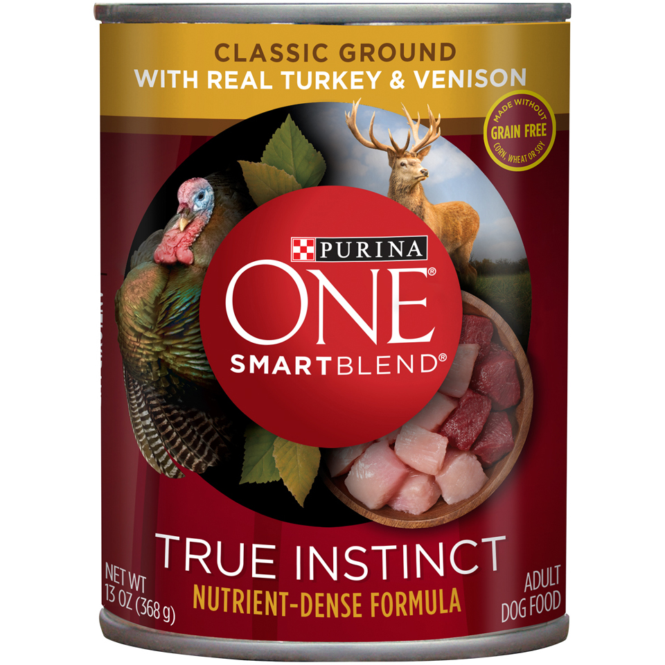 Purina ONE SmartBlend True Instinct Classic Ground with Real Turkey & Venison Wet Dog Food, 13-Oz, Case of 12