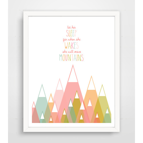 Finny and Zook 'Let Her Sleep for When She Wakes She Will Move Mountains' Pink Paper Print