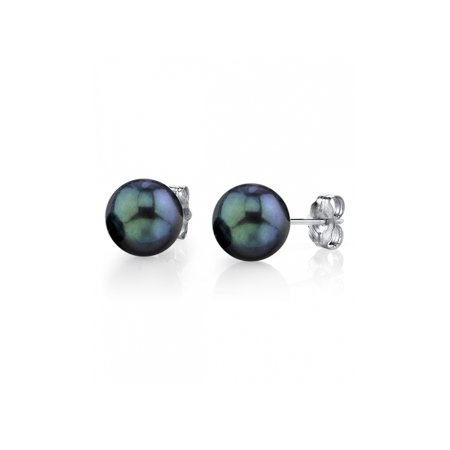 14K Gold 6.5-7.0mm AA+ Quality Round Black Akoya Cultured Pearl Stud Earrings for Women