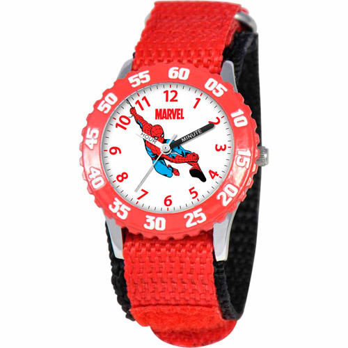 Marvel Spider-Man Boys' Stainless Steel Watch, Red Strap