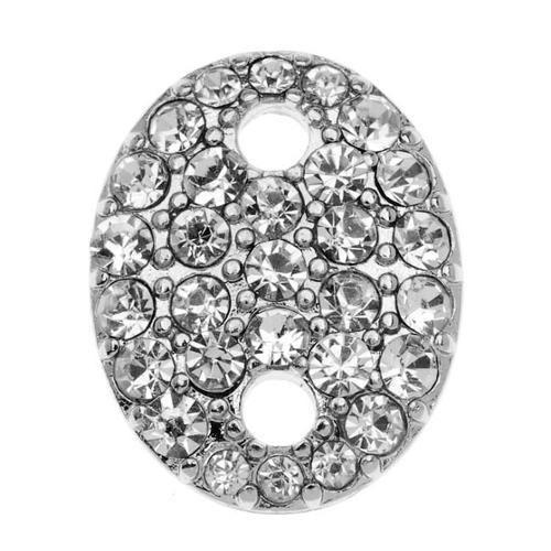 Beadelle Crystal 20mm Flat Oval Pave Link Silver Plated / Crystal  (1 Piece)