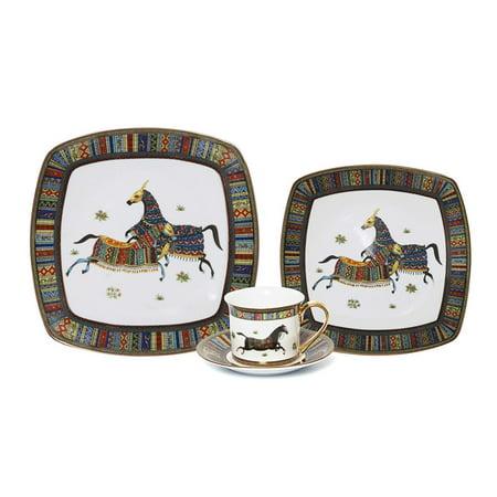 Royalty Porcelain Vintage Design Square 16-pc Dinnerware Set 'Greek Horse Cheval', Premium Bone - Bone China Horse