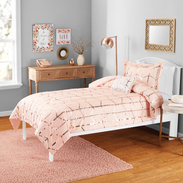 Your Zone Mini Metallic Print Comforter Set with Decorative Pillow Twin/TXL Blush