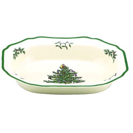 Christmas Tree Open Vegetable Dish , 1 11-1/2-Inch, 1 11-1/2-Inch open vegetable bowl By Spode,USA Christmas Rose Open Vegetable Dish