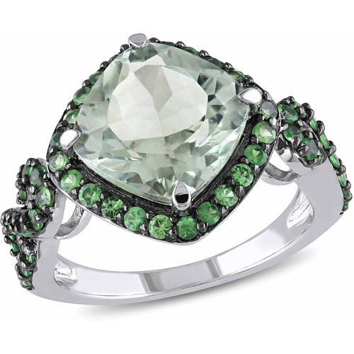 4-1/2 Carat T.G.W. Green Amethyst and Tsavorite Sterling Silver Halo Cocktail Ring