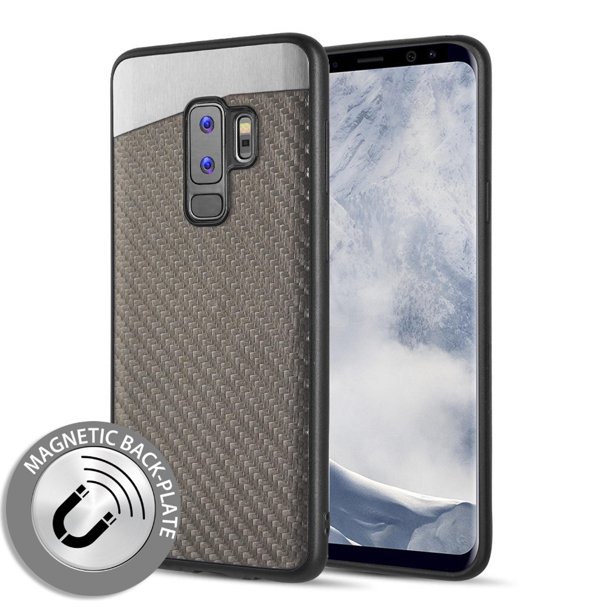 Samsung Galaxy S9 Plus Case, by Insten Carbon Metallic Fusion Fiber Rubber TPU Case Phone Cover For Samsung Galaxy S9 Plus