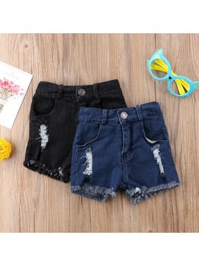 Fashion Summer Newborn kids Holes Denim Jeans Kids Stretch Ripped Short