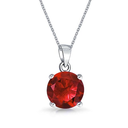 2CT Round Red AAA CZ Brilliant Solitaire Pendant Necklace For Women For Teen Ruby Simulated 925 Sterling