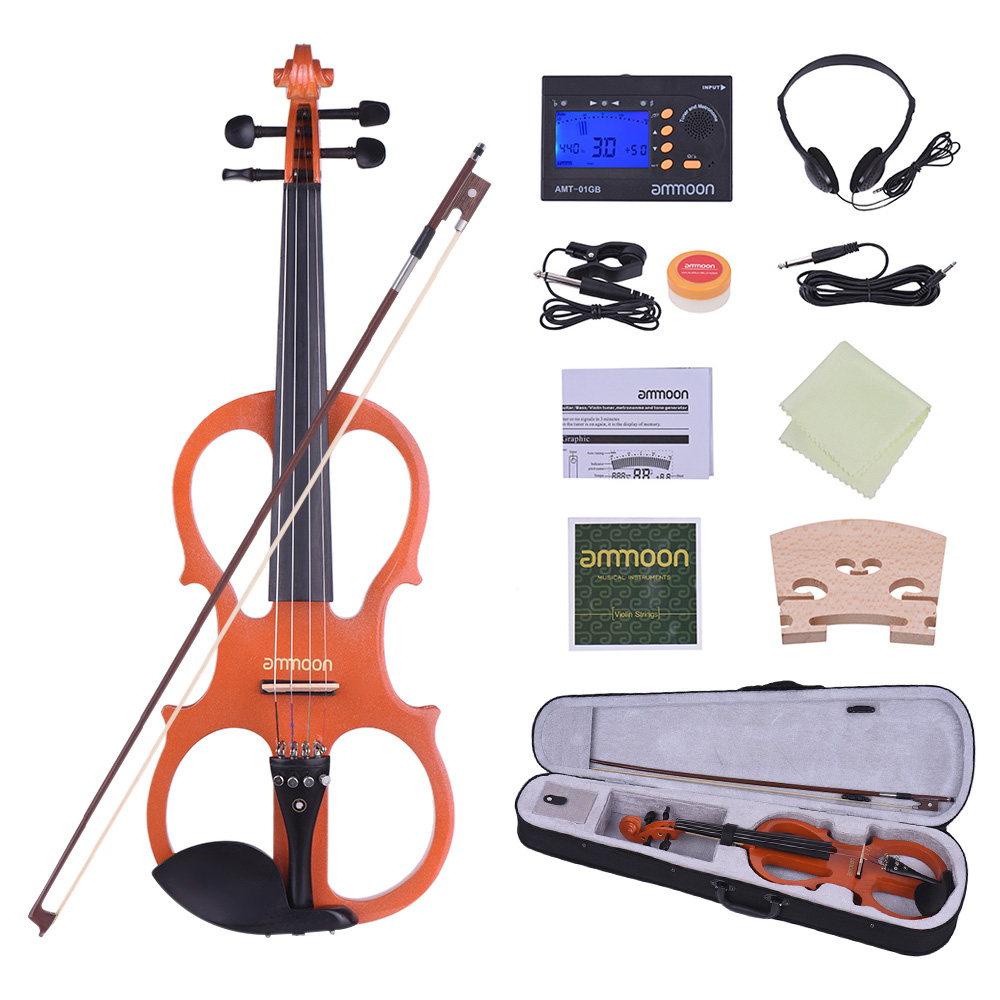 ammoon Full Size 4 4 Solid Wood Electric Silent Violin Fiddle Style-1 Ebony Fingerboard... by
