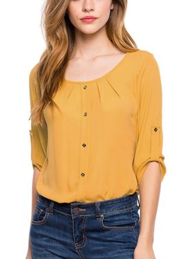 OUMY Women 3/4 Sleeve Chiffon Blouse Shirt Tops