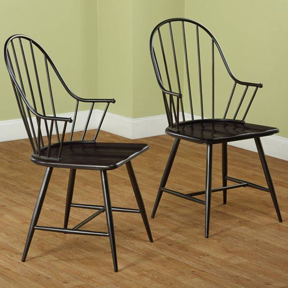 Dining Arm Chairs Black Design: Windsor Mixed Media Arm Chair, Set Of 2, Black/Espresso