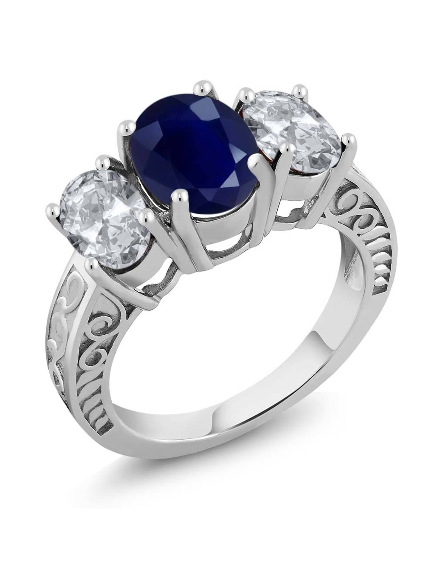 4.40 Ct Oval Blue Sapphire White Topaz 925 Sterling Silver Ring by