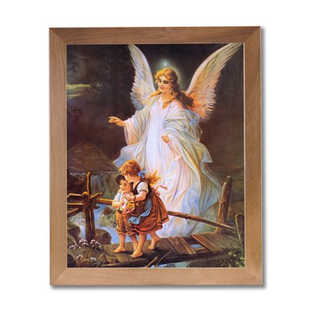 Guardian Angel Picture Frame - Guardian Angel Children On Bridge Religious Wall Picture Honey Framed Art Print