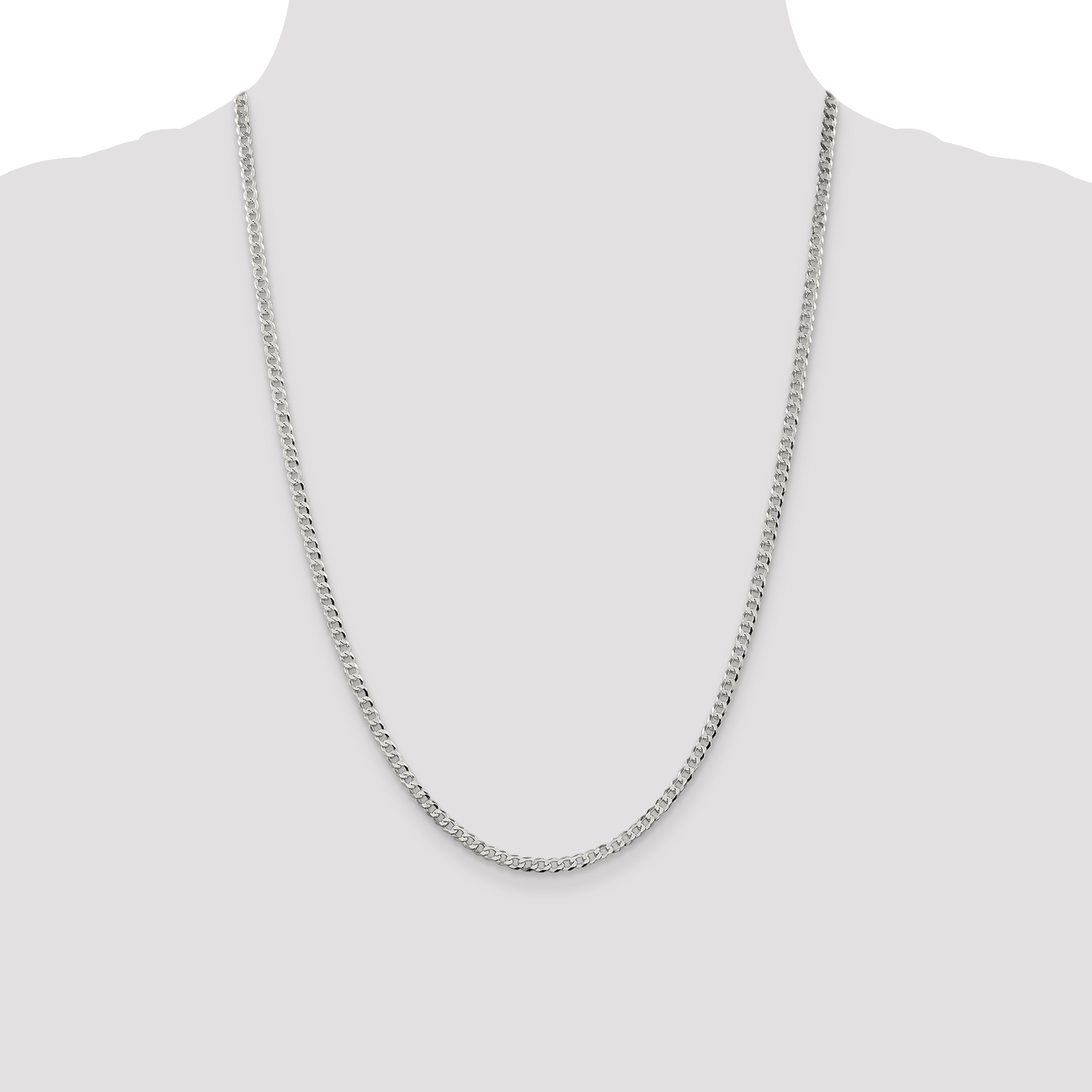 Solid 925 Sterling Silver 3.2mm Beveled Curb Link Cuban Chain Necklace