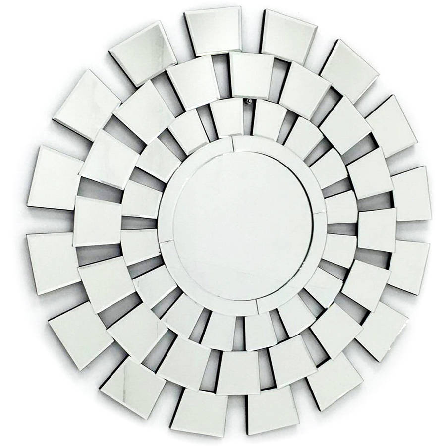 "Fab Glass and Mirror THE FOUR SEASONS Stylish Round Frame Decorative Mirror Design, 31.5""L x 31.5""W"