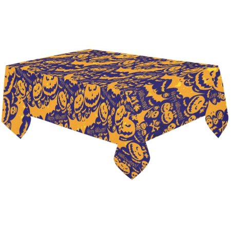 MYPOP Happy Halloween Skull Pumpkin Bat Tablecloth Sets 60x104 Inches - Halloween Gifts Purple Tablecover Desk Table Cloth Cover Party Decoration](Et Halloween Gif)