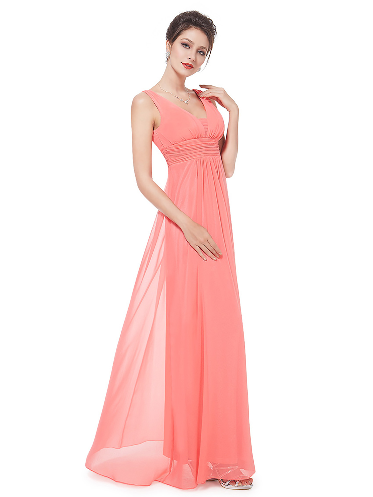 Ever-pretty - Ever-Pretty Women s Sexy Full Length V Neck Chiffon Summer  Black Tie Evening Party Wedding Guest Dresses for Women 08110 (Coral 8 US)  ... 2a45536dc