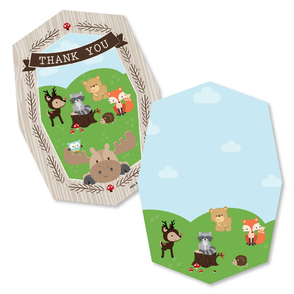 Woodland Creatures - Shaped Thank You Cards - Baby Shower or Birthday Party Thank You Note Cards with Envelopes - Set o